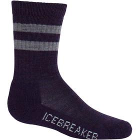 Icebreaker Kids Hike Light Crew Socks Burgundy HTHR/Silk Hthr